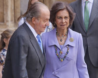 Monarchy 029. Previous Kings Juan Carlos and Queen Sofia of Spainleave Palma de Mallorca Cathedral after attending an easter mass Stock Image
