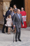 Monarchy 017. Spain´s royal family leaded by previous King Juan Carlos leave Palma de Mallorca Cathedral after attending an easter mass Stock Photo
