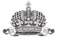 Monarhy Tiara black and white. Created in illustrator Stock Image