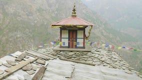 Monastère à haute altitude au Népal, village Prok, voyage de circuit de Manaslu banque de vidéos