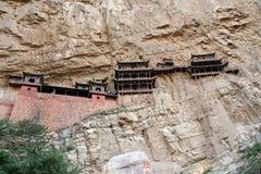 Monastère accrochant célèbre dans la province de Shanxi près de Datong, Chine, Images stock