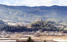 Monastère de Bumthang Dzong dans le royaume du Bhutan Photographie stock