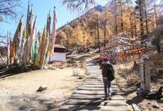 Monastère de Chonggu à la réserve naturelle de Yading dans Sichuan, Chine images libres de droits