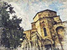 Monastère de Jvari près de ville de Mtskheta dans le pays de la Géorgie Digital a illustration de vecteur