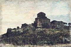 Monastère de Jvari près de ville de Mtskheta dans le pays de la Géorgie Digital a illustration libre de droits