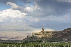 Monastère de Khor Virap dans un paysage de l'Arménie images libres de droits