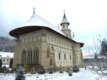 Monastère de Punta pendant l'hiver (Roumanie) Image libre de droits