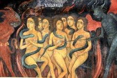 Monastère de Rila, Bulgarie - détail d'un fresque dans le portique Photographie stock libre de droits
