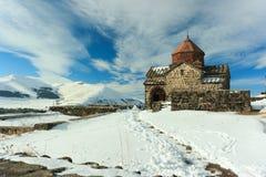 Monastère de Sevanavank en hiver Photographie stock libre de droits