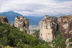 Monastère Grèce, vue panoramique de Meteora de trinité sainte Photographie stock
