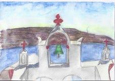 Monastère grec au lever de soleil illustration de vecteur