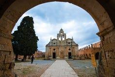 Monastère orthodoxe célèbre d'Arkadi Christian en Crète, Grèce Photographie stock libre de droits