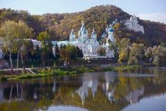 Monastère orthodoxe, montagnes sacrées Donbass, Ukraine Photographie stock libre de droits