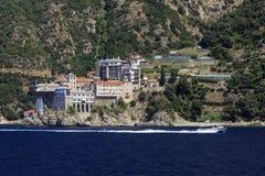 Monastère Osiou Grigoriou et x28 ; St Gregory et x29 ; chez le mont Athos Images libres de droits
