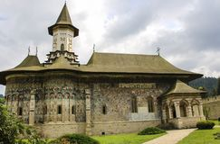 Monastère peint orthodoxe d'église de Sucevita, Moldavie, Bucovina, image libre de droits