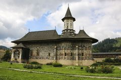 Monastère peint orthodoxe d'église de Sucevita, Moldavie, Bucovina, image stock