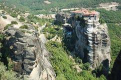 Monastère saint de Varlaam, Meteora, Grèce Images libres de droits
