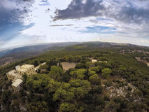 Monastère sur le mont Carmel et la vallée de Jezreel, Israël Photographie stock