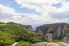 Monastères de Meteora, formations de roche incroyables de grès Photo libre de droits