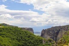 Monastères de Meteora, formations de roche incroyables de grès Photos libres de droits