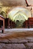 Monastério cenobitic interior Bigues do licor beneditino de Sant Miquel del Fai mim Riells Sant Miquel del Fai Catalonia Barcelon Foto de Stock