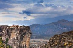 Monastério da trindade santamente mim em Meteora, Grécia Fotos de Stock Royalty Free