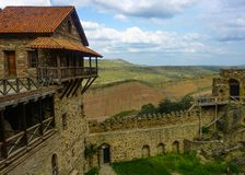 Monastério David Gareja Watchtower e parede imagem de stock royalty free