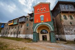 Monastério de Philotheou no Monte Athos fotos de stock