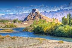 Monastério de Stakna, Ladakh, Jammu e Caxemira, Índia imagem de stock