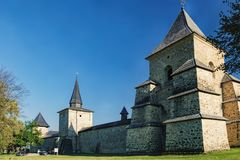 Monastério de Sucevita no Condado de Suceava, Romênia fotos de stock royalty free