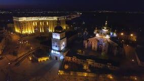 Monastério Dourado-abobadado de Mikhailovsky no quadrado de Mikhailovskaya em Kiev, Ucrânia filme