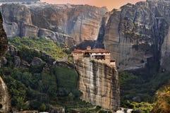 Monastério em Meteora em Greece fotos de stock