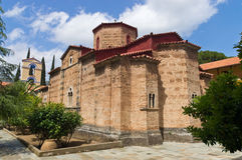 Monastério grego de Taxiarches em Greece Imagem de Stock