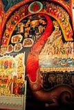 Monastério grego na parte superior das rochas de St Meteora na parte central de Grécia 06 18 2014 A arte da religião grega Fotos de Stock Royalty Free