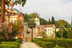 Monastério novo de Athos na opinião bonita da Abkhásia imagem de stock