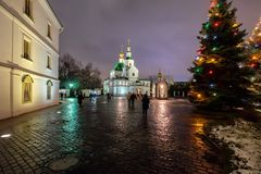 Monastério santamente de Danilov na Noite de Natal imagem de stock