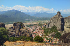 Monastérios de Meteora nas rochas Greece Fotos de Stock Royalty Free