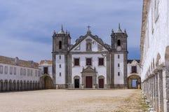Monastary cloisters of Nossa Senhora do Cabo Church, Portugal Stock Images