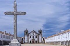Monastary cloisters of Nossa Senhora do Cabo Church, Portugal Royalty Free Stock Image