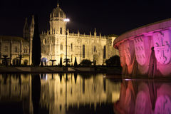 Monasteiro dos Jeronimos przy nocą.  Lisbon. Portugalia Obraz Royalty Free
