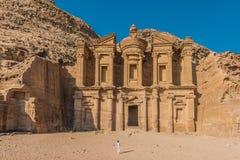 Monaster w nabatean mieście petra Jordan (Al Deir) Zdjęcia Stock