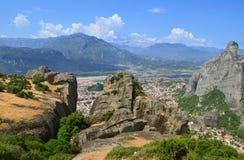 Monasteri di Meteora sulle rocce Immagine Stock