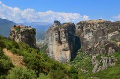 Monasteri di Meteora sulle rocce Fotografia Stock