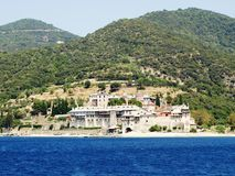 Monasteries at the coast in Greece Royalty Free Stock Photography
