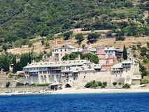 Monasteries at the coast in Greece Royalty Free Stock Images