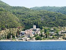 Monasteries at the coast in Greece Royalty Free Stock Photos