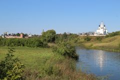 Monasteries and Kamenka river in Suzdal, Russia. The Saviour Monastery of St. Euthymius and the Alexander monasteries on the Kamenka river in Suzdal town, Russia royalty free stock photo