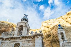 Citadel of Aleppo in Aleppo, Syria. Monasteries in Ma`loula: Greek Catholic Mar Sarkis and Greek Orthodox Mar Thecla Stock Images