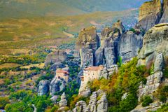Monasteries in Meteora, Greece. Monasteries on cliff in Meteora, Monastery of Rousanou and St. Nicholas Anapausas, Thessaly Greece. Greek destinations stock images