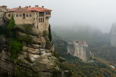 The Monasteries at Meteora - Roussanou and Varlaam Stock Image